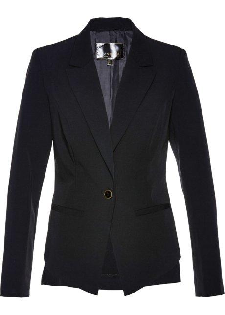 Eleganter Einknopf-Blazer mit Schößchen - schwarz c600c706c7