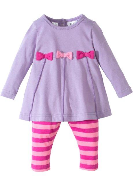 Bezauberndes Set aus Baby Kleid mit Leggings - flieder/rosa/fuchsia