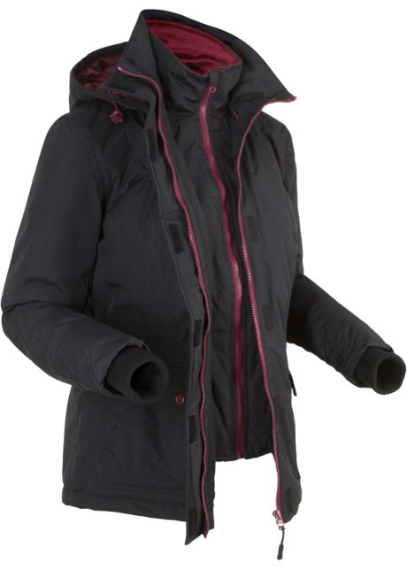 Wattierte Outdoorjacke in 2 in 1 Optik