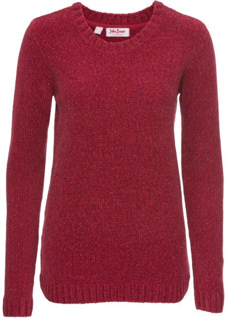 Glatt gestrickter Chenille-Pullover mit langen Ärmeln - rot meliert