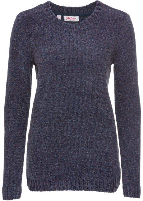 Glatt gestrickter Chenille-Pullover mit langen Ärmeln - blau meliert