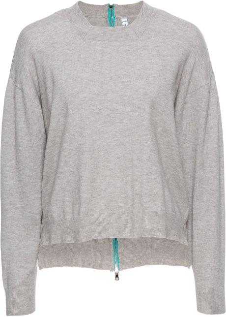 Kurzer Pullover Mit Reissverschluss Hinten Hellgrau Meliert