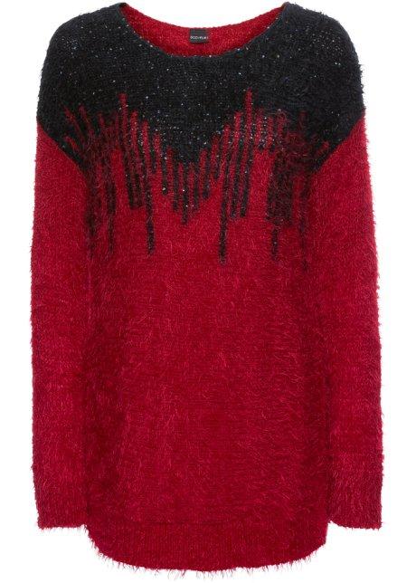 Flauschiger Pullover mit Pailletten - rot schwarz caac907cfb