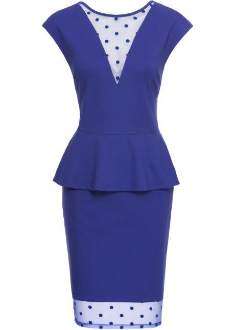 Kleid mit Netzansatz kurzer Arm in blau von bonprix BODYFLIRT boutique Aus Deutschland Yj85RG