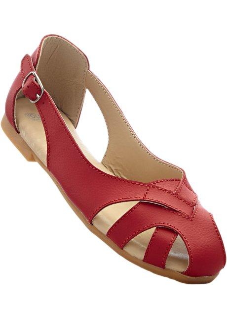 Lederballerina in rot für Damen von bonprix nvaCU6wyc0