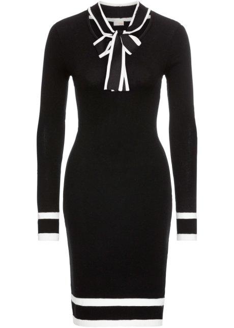 e85f2d661b97 Feminines Kleid mit Bindeband - schwarz weiß