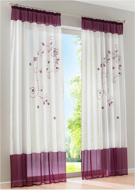Verspieltes Design in toller Farbe   transparente Gardine