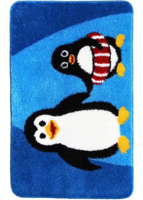Badematte Pinguin Mit Frohlichem Tiermotiv Blau