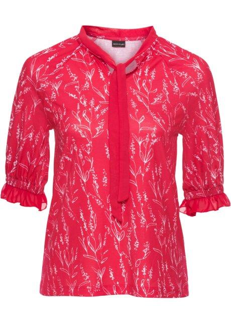 9c590a84464c00 Feminines Halbarm-Shirt mit Chiffon-Schluppe - rot/weiß geblümt