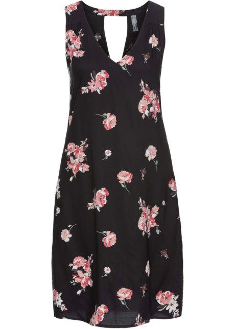 Leichtes Mini Kleid Mit Hubschem Ruckenausschnitt Schwarz Rosa Geblumt