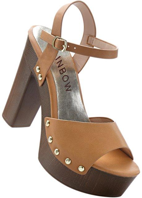 Sandalette mit 7 cm Blockabsatz in braun von bonprix Beliebt Günstig Online Beliebte Online-Verkauf Freies Verschiffen Offiziell dxKJMVNu