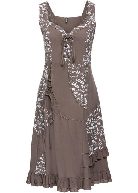 Stylishes Kleid Mit Volants Taupe Bedruckt