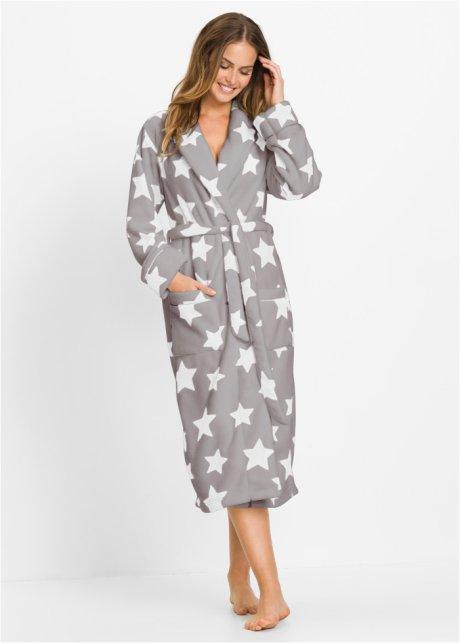 d7b9d1cd282930 Flauschiger Fleece Bademantel mit Eingrifftaschen - grau/wollweiß bedruckt