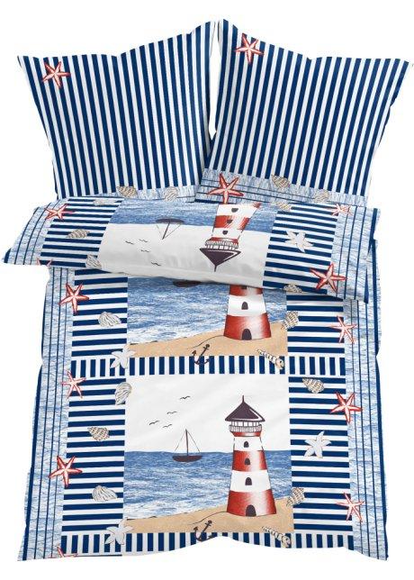 Kinderbettwäsche Leuchtturm.Bettwasche Mit Maritimen Motiven Weiss Rot Blau Linon