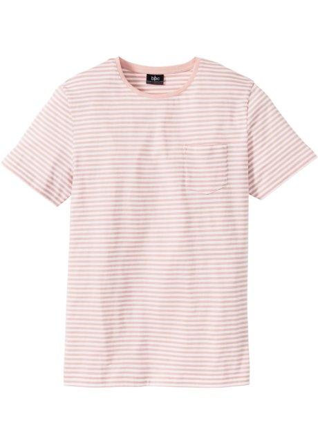 1e79aeb2cfdb1f Fein gestreiftes T-Shirt mit Brusttasche - rosa weiß