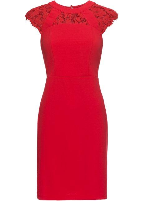 Kleid mit spitze in rot