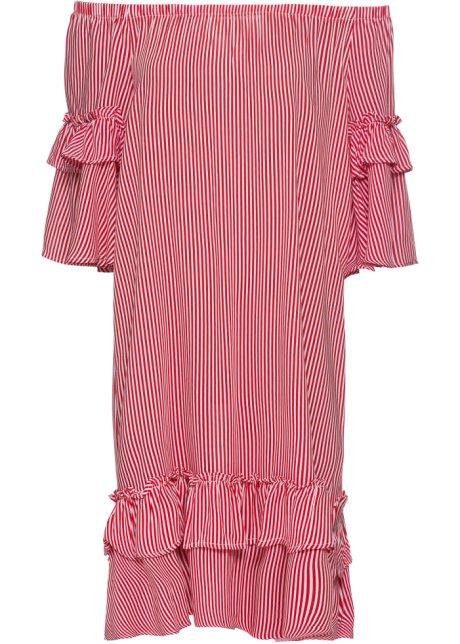purchase cheap 62e91 2ce1e Gestreiftes Volant-Kleid mit Carmenausschnitt
