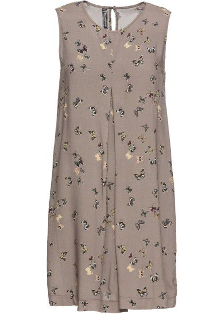 88f0da35e9f5 Lockeres Kleid mit Schmetterlingsprint - taupe bedruckt