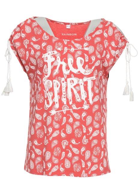 75e67ae9017768 Angesagtes Kurzarm-Shirt mit geschlitzten Ärmeln und Kordeln - rot ...