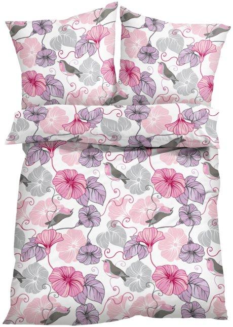 Die Bettwasche Lissy Zeigt Ein Hubsches Blumen Motiv Rosa Grau