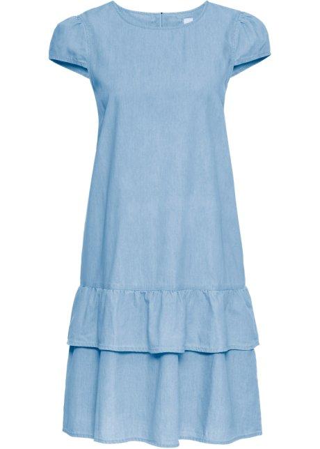06a42e36f88a Kurzes Jeanskleid mit Volant und Reißverschluss