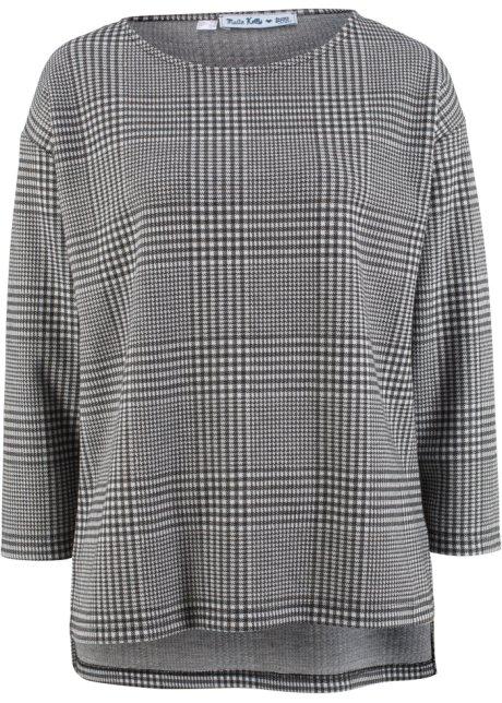 4c9905daaffcac Schmeichelhaftes Rundhals-Shirt mit 3 4-Ärmeln - schwarz weiß gescheckt
