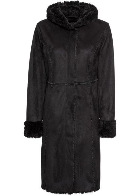 a3ffae3277ef54 Kuscheliger Mantel mit Kapuze und Lammfellimitat - schwarz