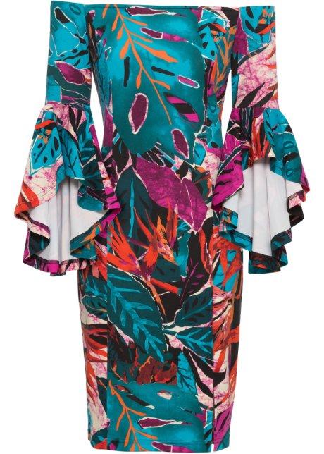modischer Stil bekannte Marke letzte Veröffentlichung Carmen-Kleid mit Volant-Ärmel und Dschungel-Print