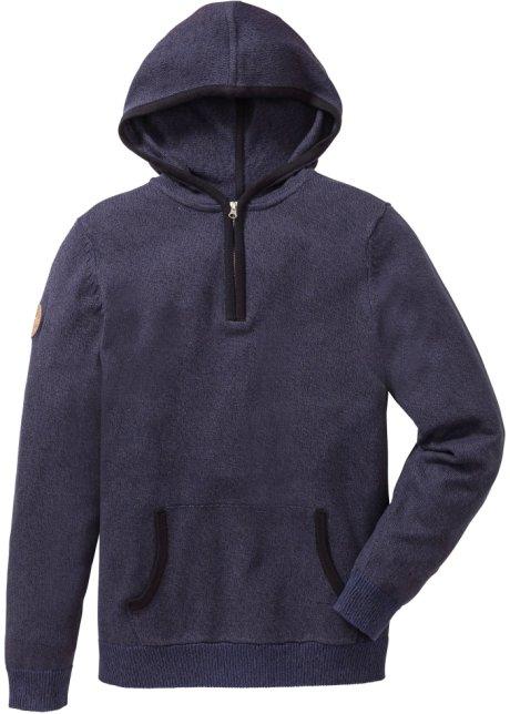 Sportiver Pullover Mit Kangurutasche Blau Meliert
