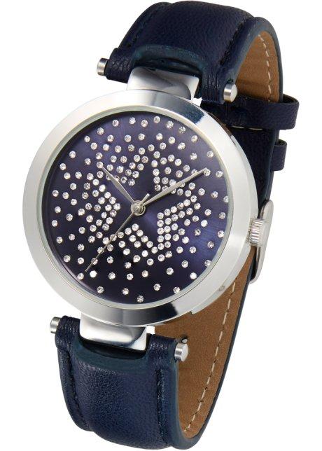 Modische Armbanduhr Mit Strass Dunkelblausilberfarben