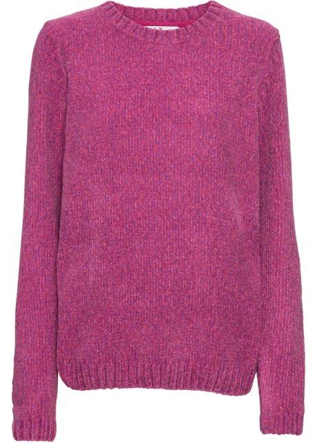 Glatt gestrickter Chenille-Pullover mit langen Ärmeln - pink meliert