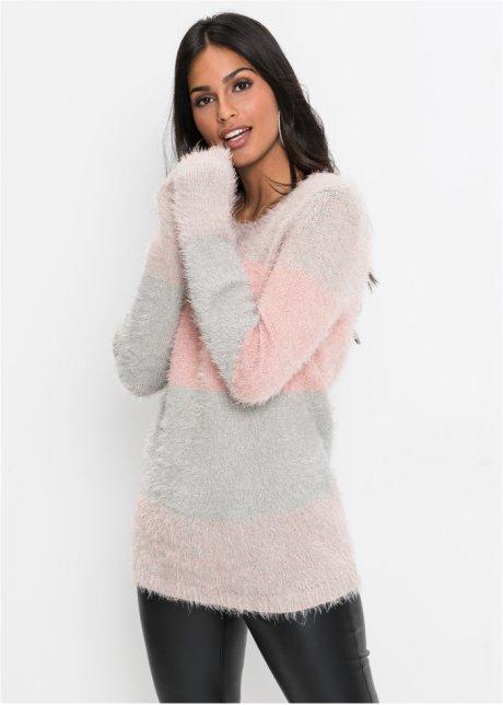 3b812ab3ba9a67 Kuscheliger Pullover aus Effekt-Garn - grau/rosé gestreift