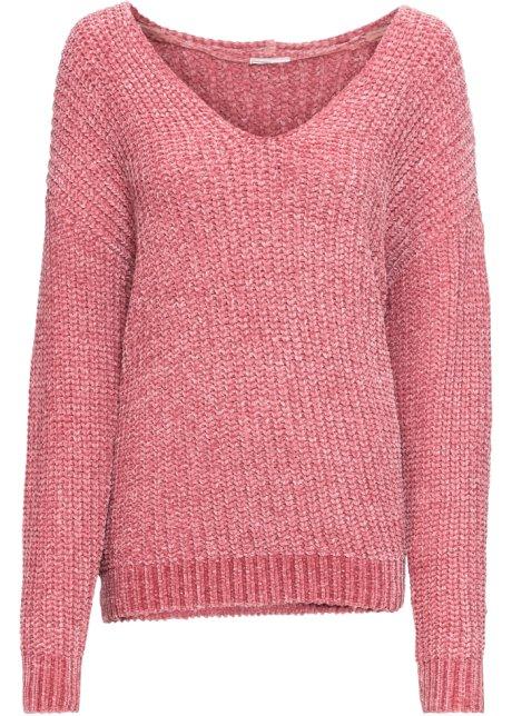 Modischer Chenille-Pullover mit tiefem V-Ausschnitt - himbeere