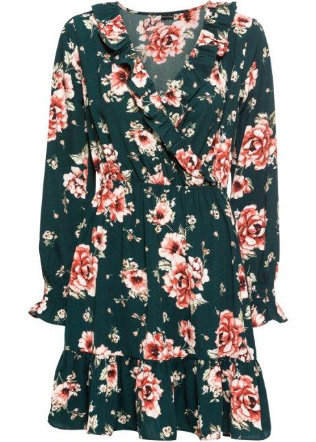 559719b75eb1f0 Feminines Kleid mit floralem Alloverprint - dunkelgrün geblümt