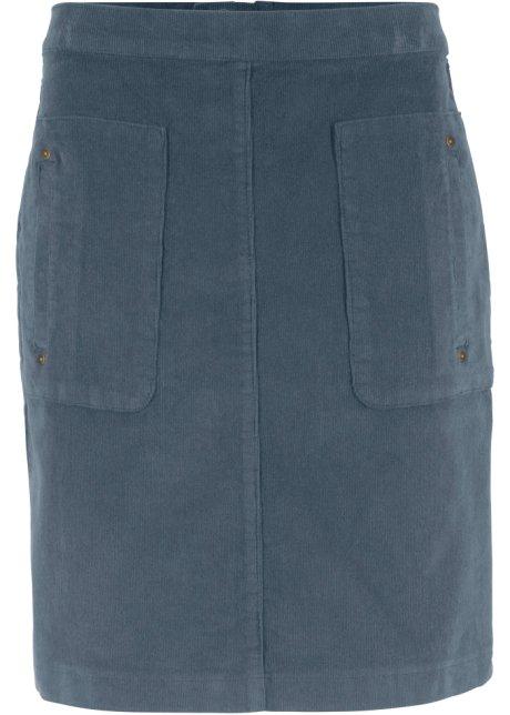 Kurzer Rock aus Cord mit Stretchanteil und Taschen - nachtblau d837e97690