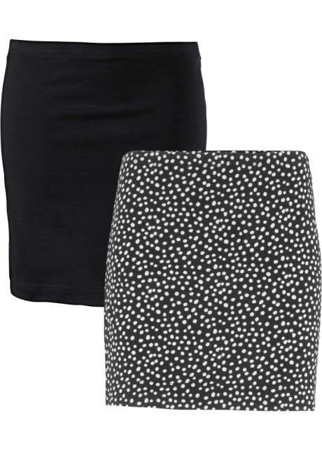 Modischer Shirtrock aus Stretch im Doppelpack - schwarz+schwarz ... 2548e9e87b