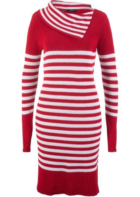 Modisches Kleid aus Strick mit Kragen - rot weiß gestreift f9ec0bbbfc