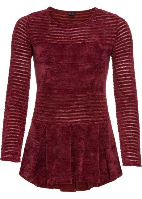 Modischer Chenille-Pullover mit Volantoptik - rubinrot