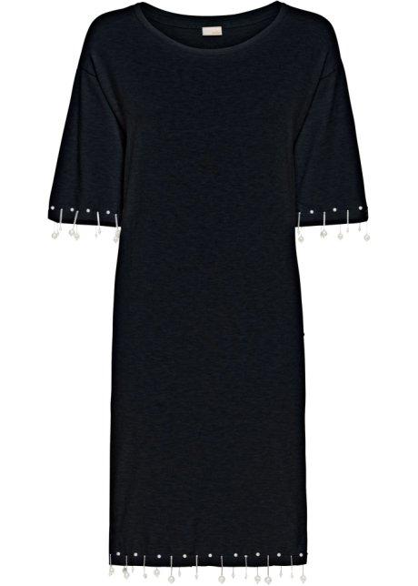 ausgefallenes kleid mit originellen perlenapplikationen schwarz  strickkleid mit perlen, bodyflirt