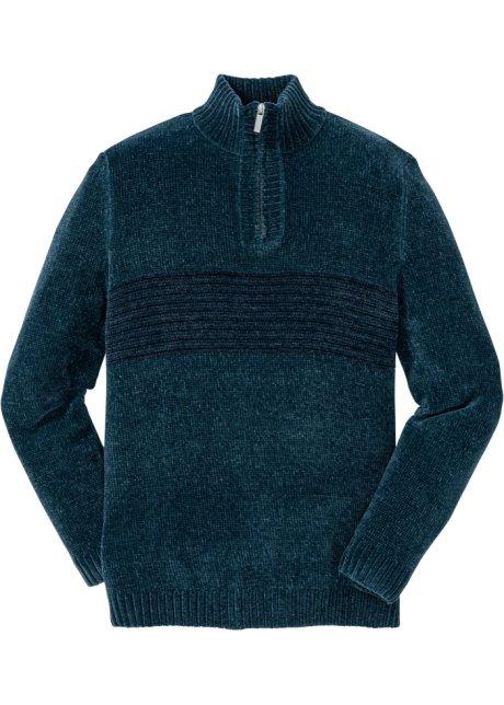 Bequemer Pullover mit Kragen - petrol