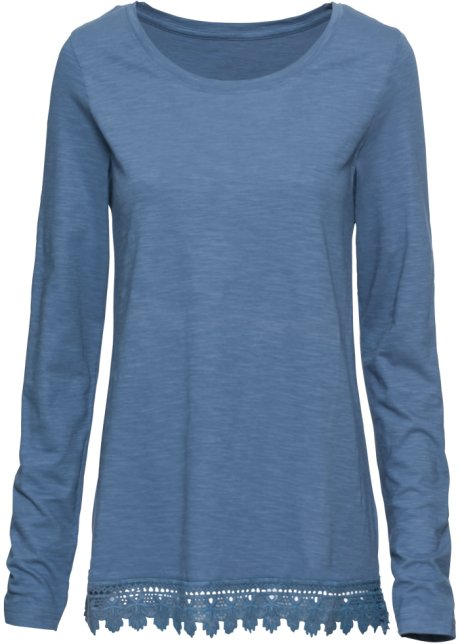 Lockeres Shirt mit gehäkeltem Saum - jeansblau ff3b1b2e84