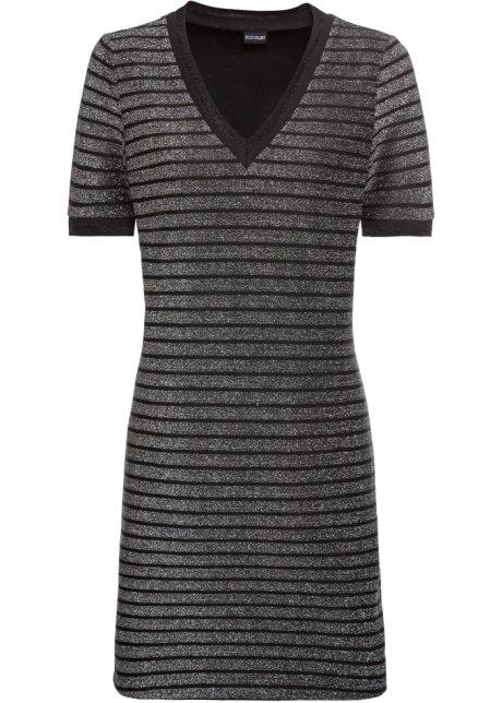 Gestreift Streifen Bodyflirt Silberschwarz Kleid Mit zVUqSMpG