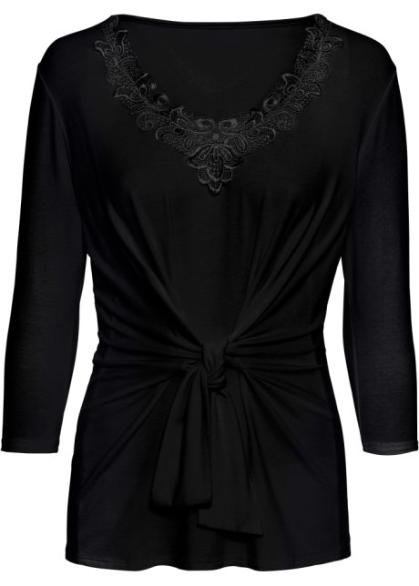 Lady Shirt Mit Üppiger Spitzen-verzierung Schwarz