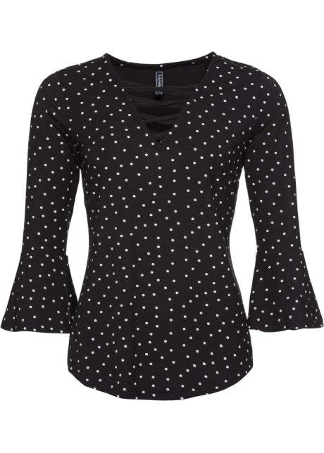 Luftig-leichtes Shirt mit ausgefallener Schnürung - schwarz weiß ... 7579b84c60