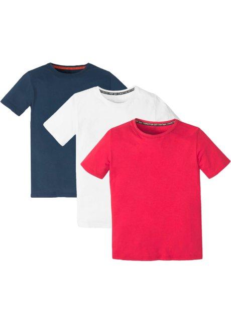 458b11757293 Tolles Basic T-Shirt mit Rundhalsausschnitt - weiß dunkelblau rot