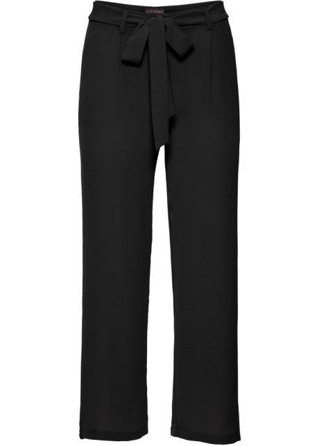 df1f785612b3 Leicht fließende Hose aus semi-transparenter Ware - schwarz