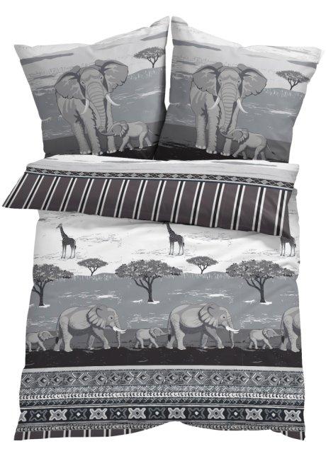 Exotischer Blickfang Die Bettwäsche Kenia Schwarzweißgrau Linon