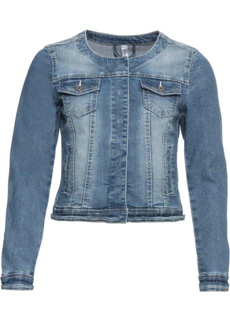 Stylishe Jeansjacke mit Rundhalsausschnitt - blau washed b8f3bd82fc