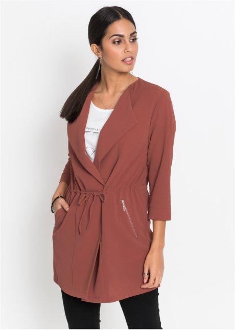 507c0dba0a26 Elegante Blusen-Jacke mit Reverskragen und Bindeband