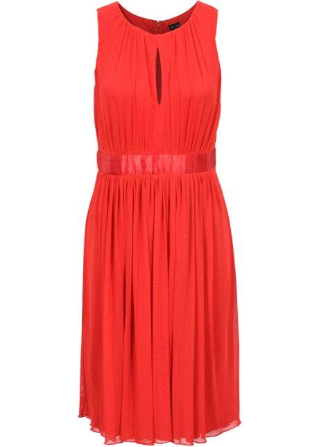 16eb682efed6d8 Zartes Kleid mit Taillenband aus Satin - erdbeere
